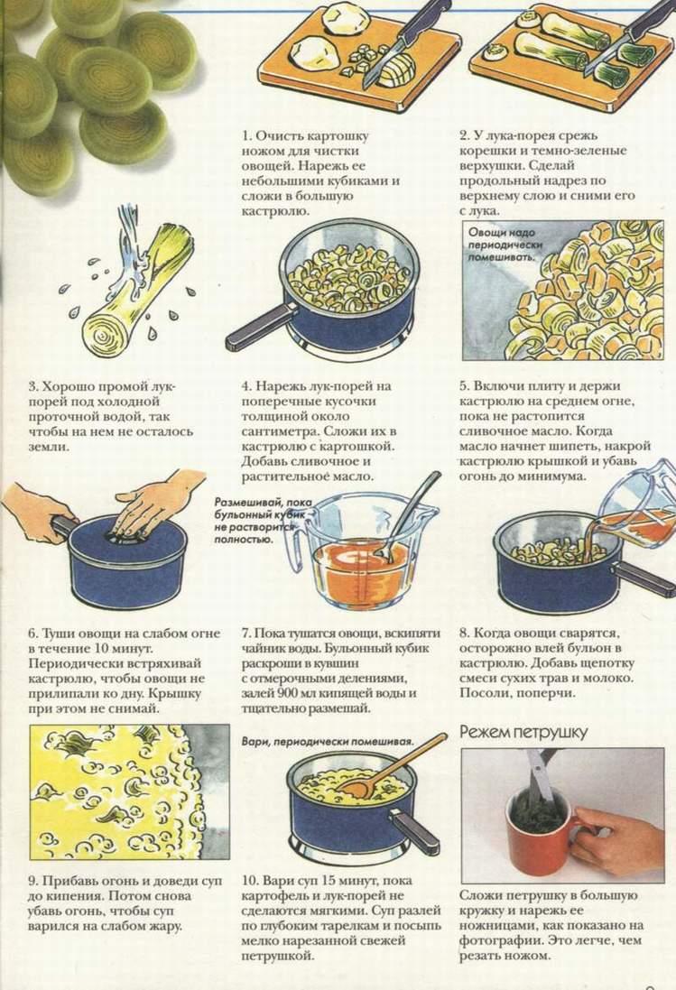 Простые кулинарные рецепты - Картофельный суп с луком-пореем.